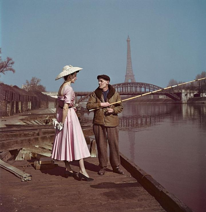 A snapshot of historical fashion, Paris, late 1940s.